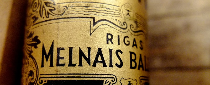 Riga Black Balsam label from an old Soviet period bottle